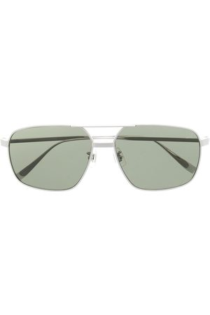 Dunhill Angular hammered-arm aviator sunglasses