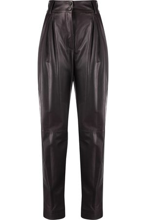 Dolce & Gabbana Pleated tapered leather trousers