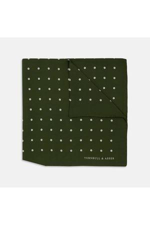Turnbull & Asser Men Pocket Squares - Olive Spot Silk Pocket Square