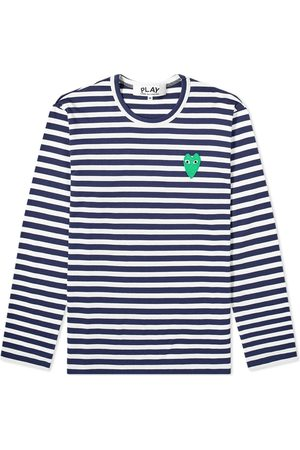 Comme des Garçons Comme des Garcons Play Long Sleeve Heart Logo Stripe Tee