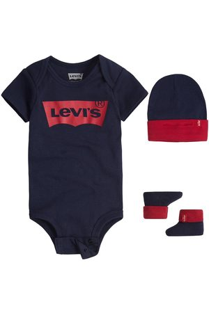 Levi's Baby Boys Batwing Hat, Bodysuit And Bootie Set