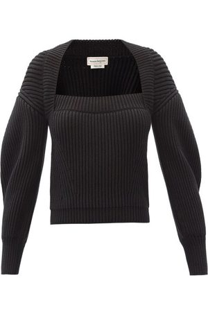 Alexander McQueen Square-neck Ribbed Cotton Sweater - Womens