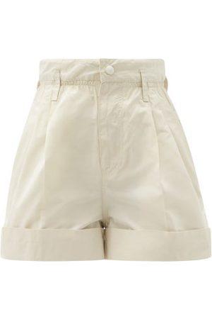 Moncler Women Shorts - High-rise Faille Shorts - Womens - Cream