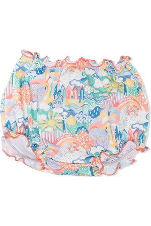 BONPOINT Beach-print ruffled swim bottoms