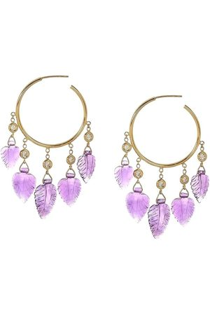 JACQUIE AICHE 14kt yellow diamond small amethyst shaker hoops
