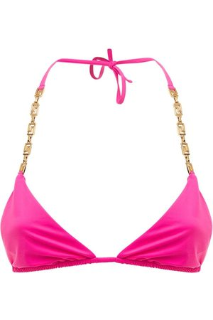 VERSACE Lycra Triangle Bikini Top W/ Chain Strap