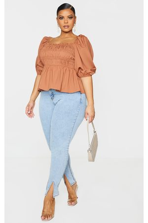 PRETTYLITTLETHING Plus Shirred Puff Sleeve Blouse