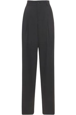 Saint Laurent Women Wide Leg Trousers - Wool Grain De Poudre Wide Leg Pants