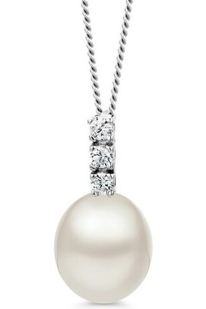 BELORO Necklaces - 9KT Freshwater Pearl and Cubic Zirconia Necklace - - Necklaces for ladies