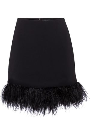 DAVID KOMA Exclusive to Mytheresa – Feather-trimmed cady miniskirt