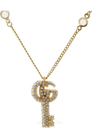 Gucci Women Necklaces - Double G Key Necklace W/ Crystals