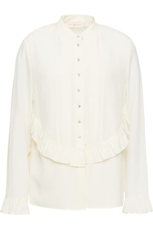 Tory Burch Woman Ruffled Embellished Silk Crepe De Chine Blouse Ivory Size 0