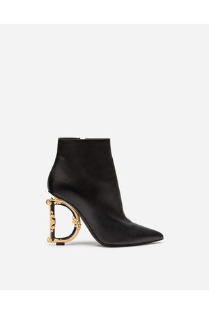 Dolce & Gabbana Women Heeled Boots - Boots and Booties - NAPPA LEATHER BOOTIES WITH BAROQUE D & G HEEL female 36