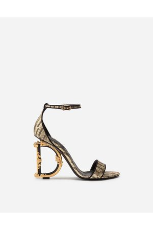 Dolce & Gabbana Sandals and Wedges - JACQUARD SANDALS WITH BAROQUE D & G HEEL female 39