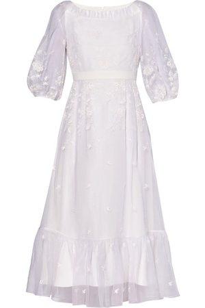 Erdem Floredice Floral-embroidered Organza Midi Dress - Womens