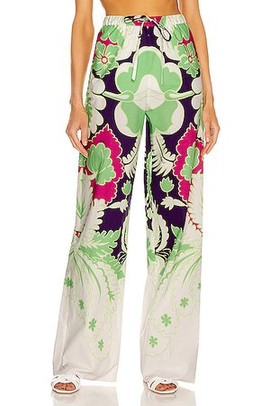 VALENTINO Floral Wide Leg Pant in Pool & Radiant Orchid
