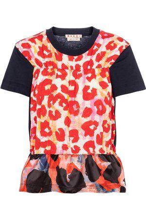 Marni Women Short Sleeve - Leopard-print peplum T-shirt