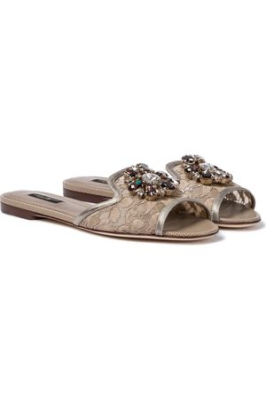 Dolce & Gabbana Women Sandals - Bianca embellished lace slides