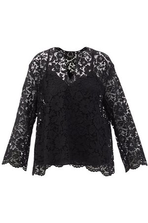 VALENTINO Women Tops - V-neck Guipure-lace Top - Womens