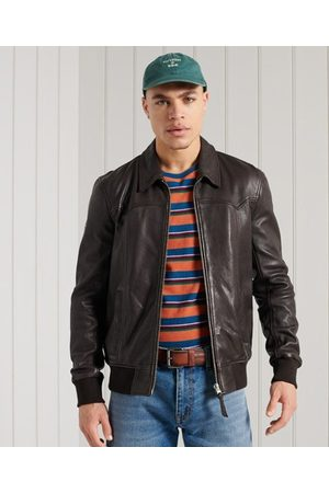 Superdry Men Leather Jackets - Leather Indie Club Jacket