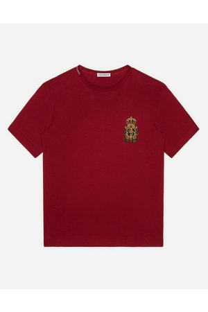 Dolce & Gabbana Boys Polo Shirts - T-Shirts and Polo - JERSEY T-SHIRT WITH HERALDIC DG PATCH male 3