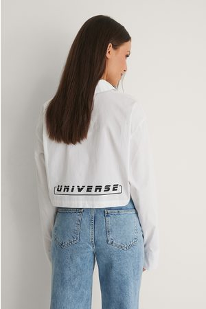 NA-KD Recycled Long Sleeve Cropped Shirt - White