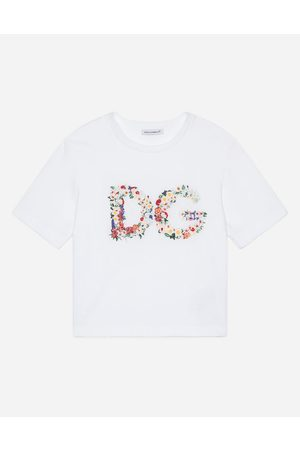 Dolce & Gabbana Children - JERSEY T-SHIRT WITH FLORAL DG EMBROIDERY female 2