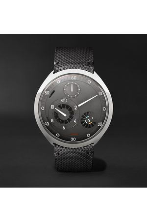 Ressence Men Watches - Type 2G Automatic 45mm Titanium and Leather Watch with Smart Crown Technology