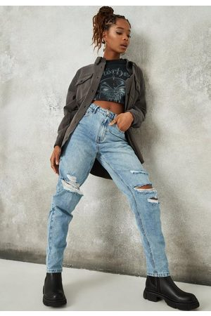 Missguided Washed Slash Distressed Mom Jeans