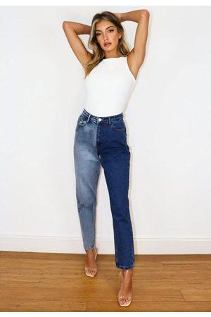 Missguided Tonal Splice Mom Jeans