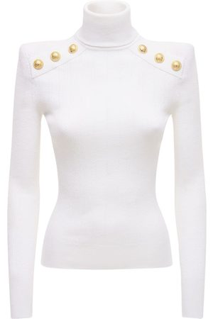 Balmain Women Turtlenecks - Viscose Blend Turtleneck Knit Sweater