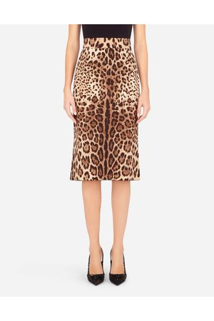 Dolce & Gabbana Women Pencil Skirts - Collection - LEOPARD-PRINT CHARMEUSE CALF-LENGTH PENCIL SKIRT female 36