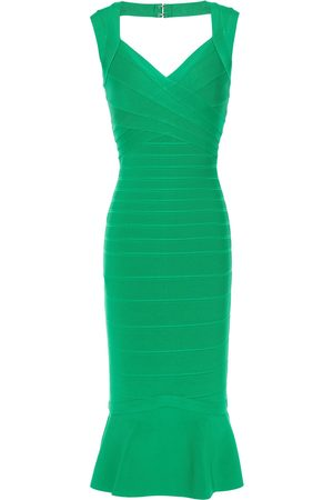 Hervé Léger Hervé Léger Woman Cutout Fluted Bandage Mini Dress Size L
