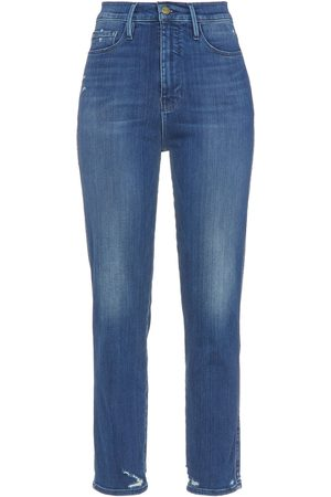 Frame Woman Le Sylvie Cropped Distressed High-rise Slim-leg Jeans Mid Denim Size 23