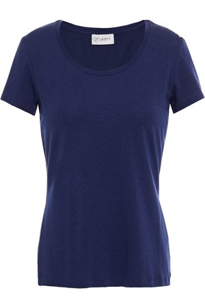 ERNEST LEOTY Women T-shirts - Woman Emilie Stretch-tencel And Cotton-blend Jersey T-shirt Navy Size L