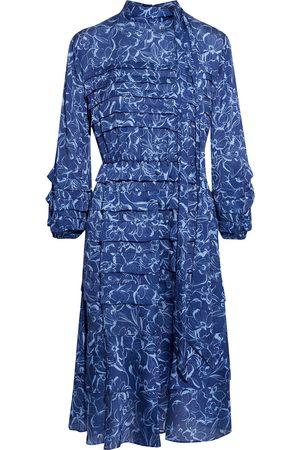 Sachin & Babi Woman Brielle Tie-neck Tiered Floral-print Satin Dress Indigo Size 10