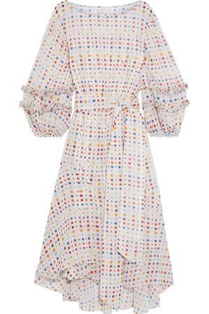 Sachin & Babi Woman Emma Asymmetric Belted Polka-dot Metallic Chiffon Dress Multicolor Size 10