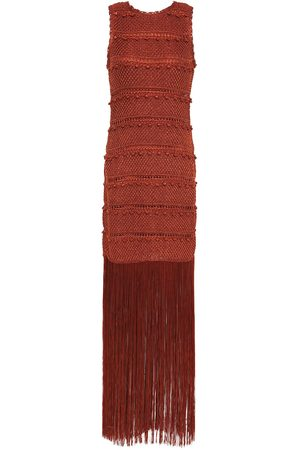 Hervé Léger Hervé Léger Woman Fringed Crochet-knit Maxi Dress Size L