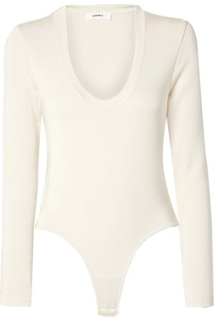 CASASOLA Woman Stretch-jersey Thong Bodysuit Ivory Size 40