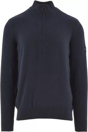 Barbour Men Sweatshirts - International Cotton Half-Zip Sweatshirt Navy