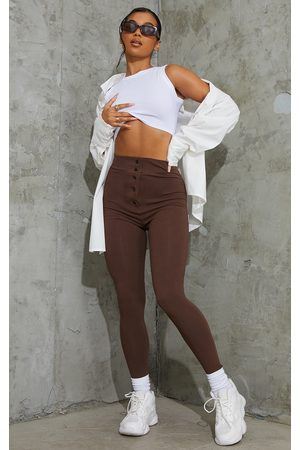 PRETTYLITTLETHING Chocolate Popper Front Leggings