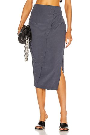 Acne Studios Ruched Midi Skirt in Mid