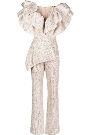 LOULOU Sequinnd ruffled jumpsuit - Neutrals