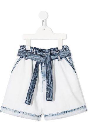 Msgm Boys Ties - Tie-waist denim shorts