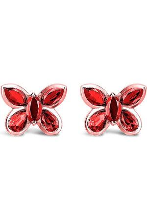 Pragnell 18kt rose gold ruby Butterfly stud earrings
