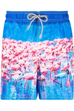 Mc2 Saint Barth Flamingo-print elasticated-waist swim shorts