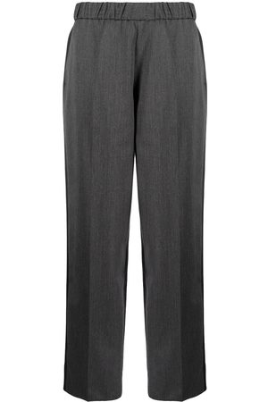 Sueundercover High-waisted wool-trim trousers
