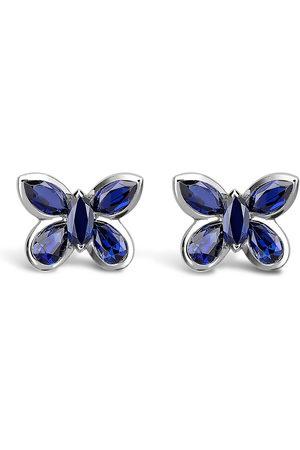 Pragnell 18kt white gold sapphire butterfly stud earrings