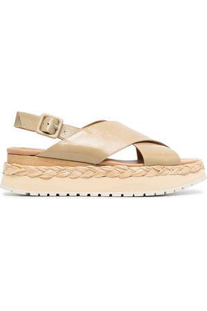 Paloma Barceló Ridged-sole cross-strap sandals - Neutrals
