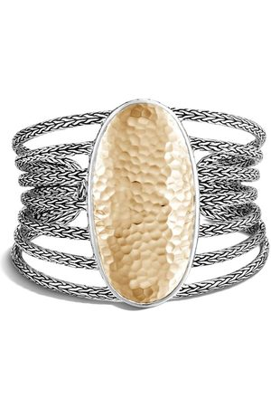 John Hardy 18kt yellow gold Classic Chain hammered extra large cuff